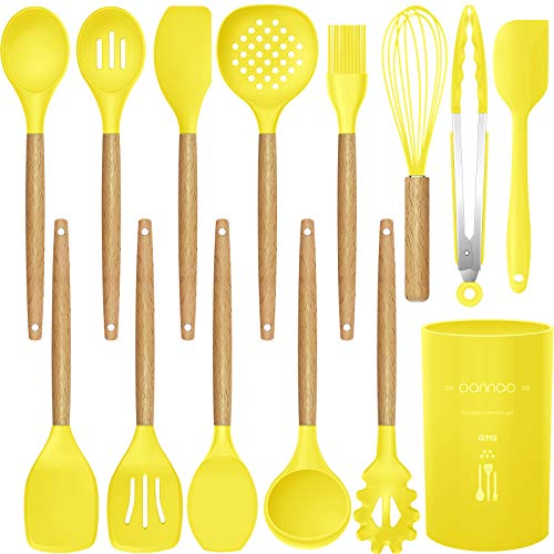 14 Pcs Silicone Cooking Utensils Kitchen Utensil Set - 446°F Heat Resistant,Turner Tongs,Spatula,Spoon,Brush,Whisk. Wooden Handles Yellow Kitchen Gadgets Tools Set for Nonstick Cookware (BPA Free)