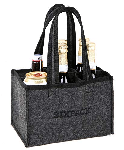 Spetebo Filz Flaschenträger Sixpack für 6 Flaschen - Männer Handtasche Flaschentasche Bierträger Flaschenhalter
