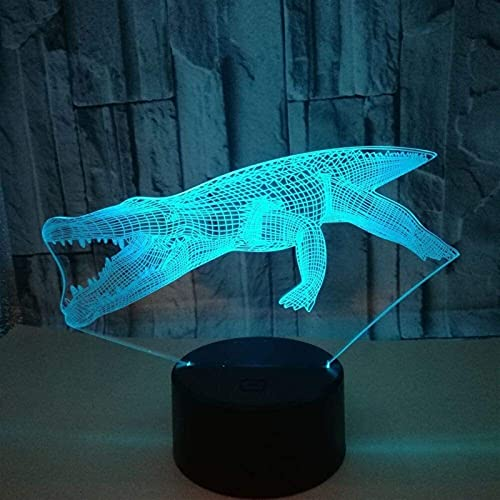 SDHouse Lámpara Escritorio Alligator LED Color Degradado 3D lámpara de Mesa estéreo Control Remoto táctil USB luz de Noche Mesa de Noche decoración Creativa Regalo joyería