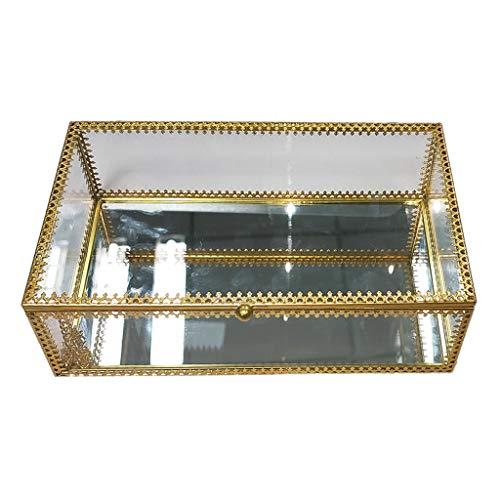 LessLIFE Caja de joyería, Rectángulo de Oro Latón de Cristal de la Joyería de la Caja de la Joyería del Cordón de la