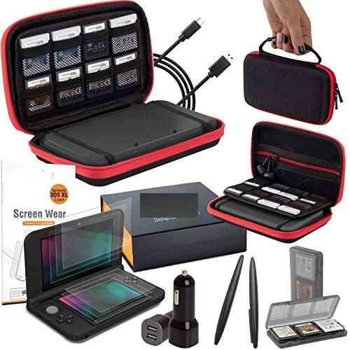 3DSXL Accessories, Orzly Ultimate Starter Pack for 3DS XL or New Nintendo 3DS XL (Bundle Includes: Car Charger/USB Charging Cable/RedBlack Console Case & More.