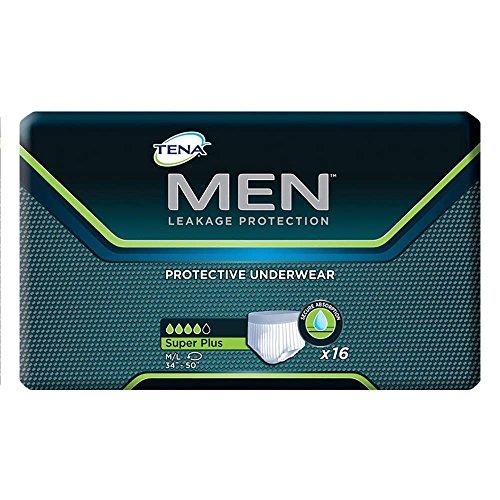 Tena Men Protective Underwear, Super Plus, Medium/Large, Case/64 (4 Bags of 16)