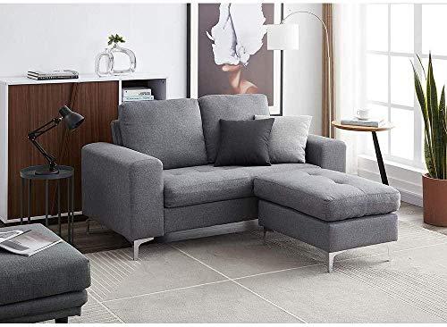 Divano a 2 posti / a 3 posti Divano divano L Divano con poggiapiedi in tessuto di lino Divano angolare Couch Lounge divano chaise divano (blu 2 posti con poggiapiedi)-Grigio_2 posti con poggiapiedi