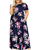 Plus Size Summer Dresses for Women Casual Floral Short Sleeve Maxi Dress with Pockets 2X