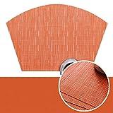 ANAZOZ Tovagliette Americane Set 4,Tovaglietta PVC 45x30CM,Colore Solido con Ventaglio Arancio