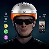 Airwheel C5 Intelligent Helmet with Front Camera and Bluetooth Speaker for Cycling, Mounting, Skateboarding (White Orange, Large)