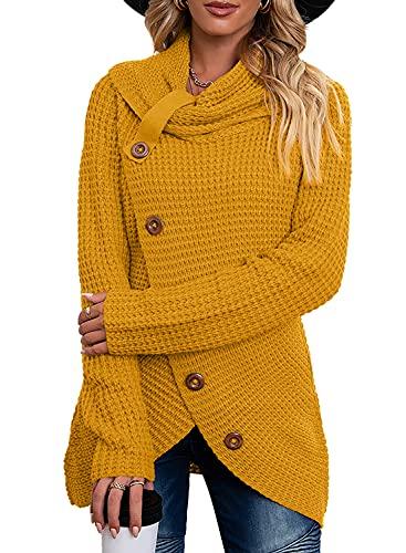 Pullover Damen Winterpullis Warm Asymmetrische Rollkragenpullover Strickpullover Wrap Gestrickt Casual Langarmshirts Oberteile (A Gelb, XXL)