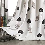Taisier Home Room Darkening Curtains for Living Room Thermal Insulated Curtain Drapes for Bedroom/Dining Contemporary Floral Printed Grommet Draperies (2 Panels, 52' W x 84' L,Black/Grey/Brown)