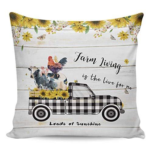 Hangdachang - Federa per cuscino quadrata, motivo: camion di girasole, animali e camion; in cotone e lino, per la casa, per soggiorno, camera da letto, divano, in legno rustico, 45,7 x 45,7 cm