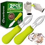 2PCS Premium Quality Oyster Shucking Knives, Oyster Knife and Highest Cut Resistance Level Gloves,...