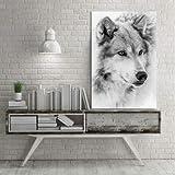 wZUN Blanco y Negro Lobo Animal Lienzo Pintura decoración Familiar Pintura Sala de Estar hogar Dormitorio decoración Lienzo Pintura 60x90 Sin Marco