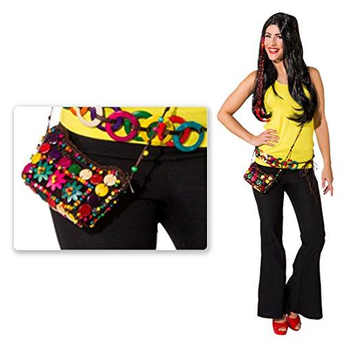NET TOYS Bunte Hippie Tasche Batik Damentasche Woodstock Flower Power Damenhandtasche 60er 70er Jahre Umhängetasche