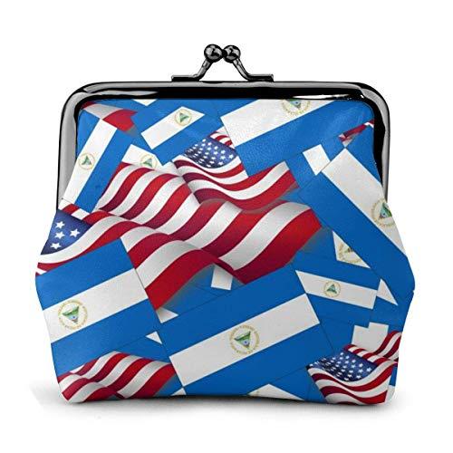 Cartera de Cuero Bandera de Nicaragua con Hebilla de Bandera de Estados Unidos Monederos Monedero Vintage Monedero de Cambio de Beso