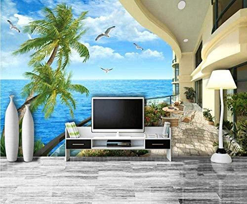 Sea Villa Balkon View Wallpaper 3D Vlies Tapeten Wandbilder Wohnzimmer Schlafzimmer Wanddekoration 3d Tapete Wanddekoration fototapete wandbild Schlafzimmer Wohnzimmer-200cm×140cm