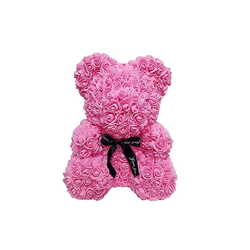 silk flower arrangements homentum rose bear teddy forever artificial flowers are the best gifts for valentine's day, anniversaries, birthdays, weddings (rose red, large)