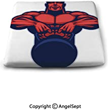 oobon Sweet Home Memory Chair Cushion,Bodybuilder Mascot Hold The Kettlebell,Slip Non Skid Rubber Comfort pad
