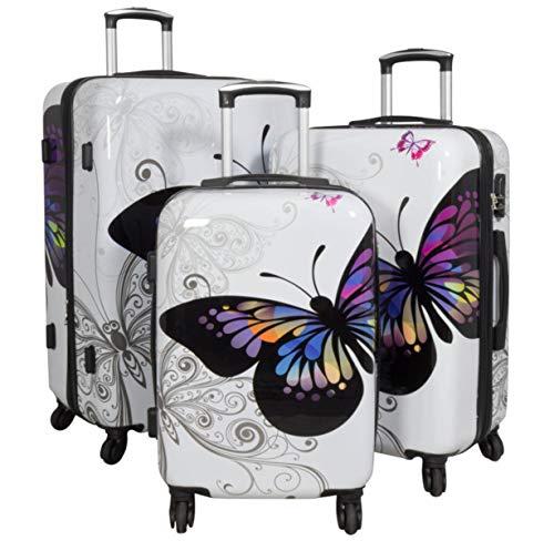 Warenhandel König 165527–Juego de maletas rígidas de policarbonato ABS, 3piezas, Juego de maletas, maletas de viaje, equipaje de mano, maletas con ruedas rígidas, con estampado Multicolor B