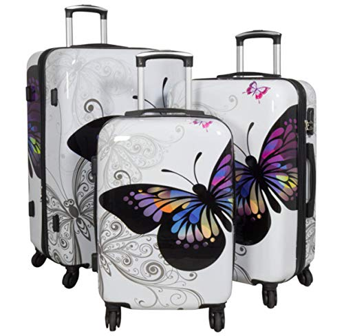set di tre valigie bagaglio trolley policarbonato rigido leggero 4 ruote 360° con motivo PM (Farfalla Bianco)