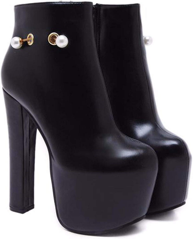 HBDLH Damenschuhe Mode Mit Hohen 16Cm - Perle Schnalle High - Heel Harte Sohle Wasserdichte Tabelle Runden Kopf Kurze Stiefel.    Wunderbar