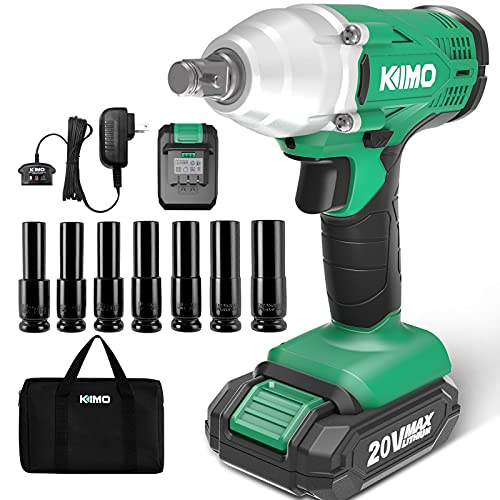 KIMO 20V Cordless Impact Wrench 1/2 inch, 2000 In-Lbs Torque 3400 IPM, impact gun w/ Charger & 2.0Ah Li-ion Battery, 7 Pcs Sockets,Variable Speed, Compact Electric Impact Wrench Set for Home & Car