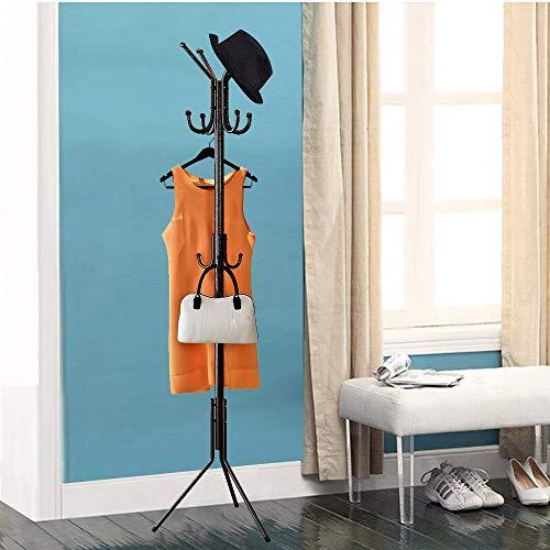 LENTIA Garderobenständer Garderobe Standgarderobe Kleiderständer Jackenständer mit 8 Haken für den Eingang, Flur, das Wohnzimmer, Schlafzimmer und Büro schwarz 48 * 175cm