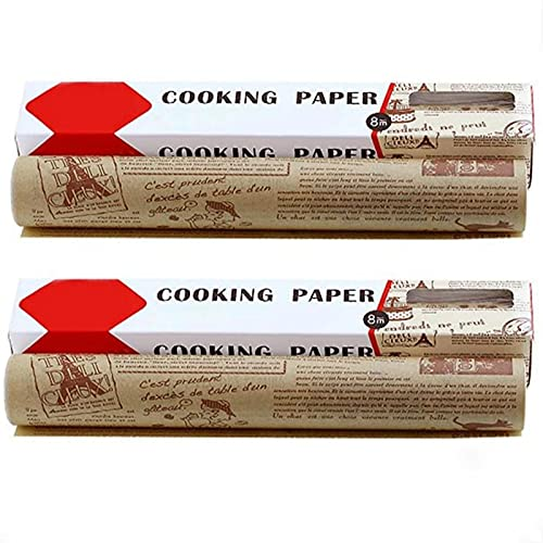 High Temperature Resistant, Waterproof And Greaseproof Baking Paper, Parchment Paper For Baking, Non-Stick Roll For Baking, Cooking, Grilling (Brown, 2 PCS)