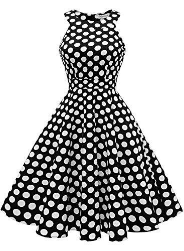 MuaDress 1950 Rockabilly Kleider Damen 50er Jahre Vintage Kleid Cocktailkleid Retro Kleid Schwarz Große Weiß Punkte XS
