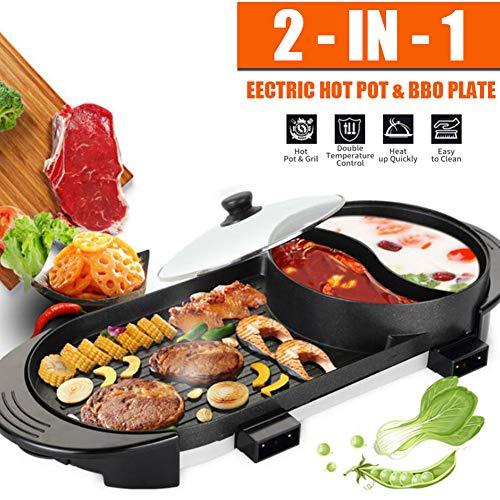 PAKASEPT Hot Pot Elektrische Barbecue 2 in 1-Multifunktionsgrill-Bratpfanne Dual-Purpose-Barbecue-Hot-Pot Eintopf-Elektro-Hot-Pot-Elektro-Backform-Europäischer Stecker 2000W