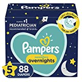 Diapers Size 5, 88 Count - Pampers Swaddlers Overnights Disposable Baby Diapers, Enormous Pack (Packaging May Vary)