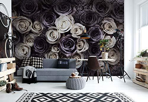 Weiß Graue Rosen Blumen - Wallsticker Warehouse - Fototapete - Tapete - Fotomural - Mural Wandbild - (3122WM) - XXXL - 416cm x 254cm - VLIES (EasyInstall) - 4 Pieces