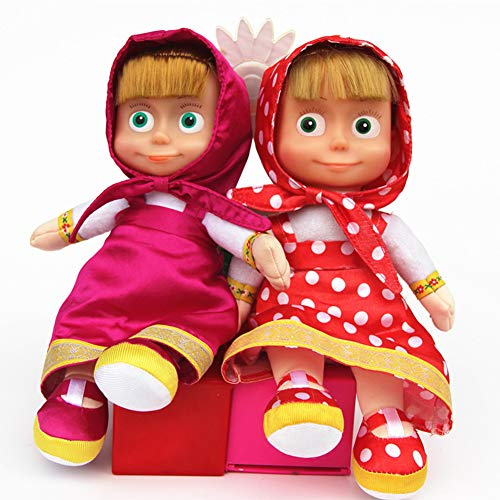 Amyove 27 cm russische Marsha plüsch Puppe Squeeze reden singen smart Cartoon Spielzeug Kind Geburtstagsgeschenk Rose Rot
