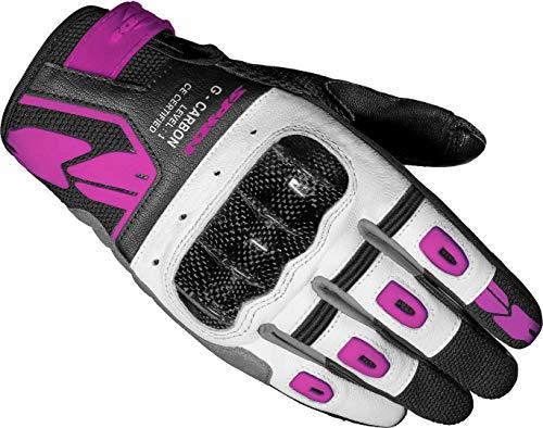 Spidi G-Carbon Damen Motorrad Handschuhe Schwarz/Weiß/Pink XL