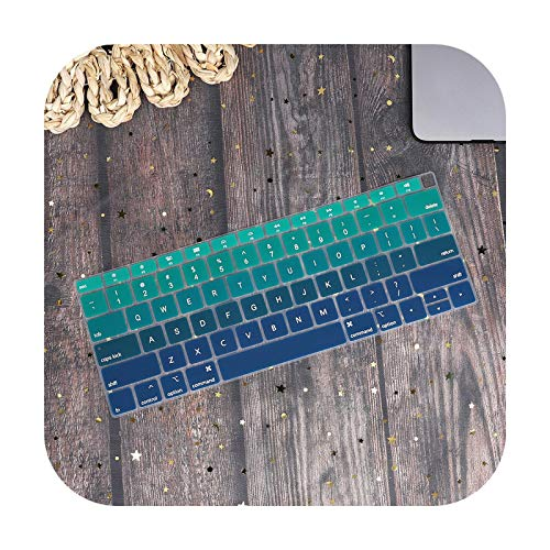 US Type English Water Dust Proof keyboard cover for Macbook Air 13 2019 2020 A2179 A1932 A2337 Touch ID Gradient Color America-Gradient green