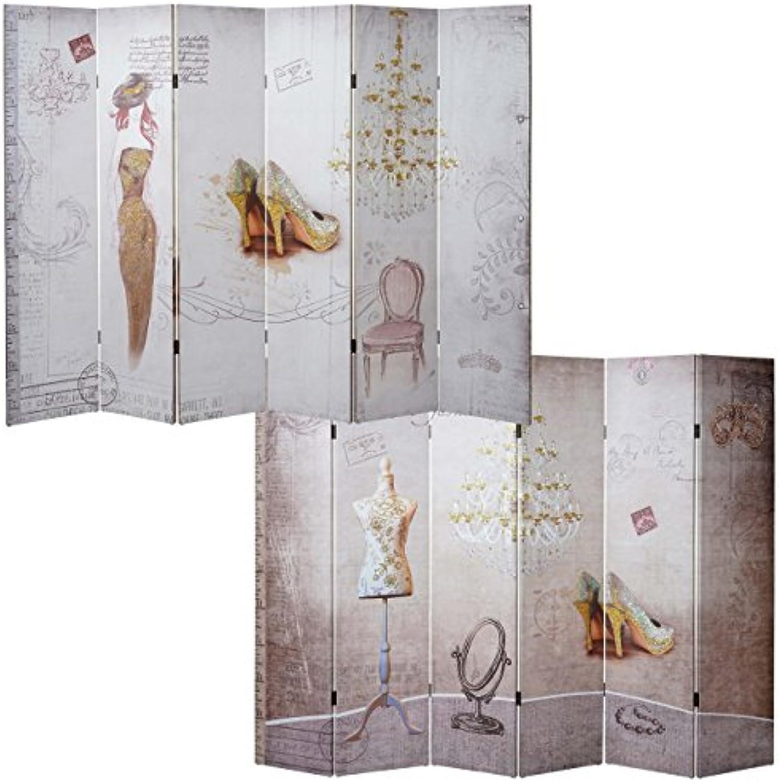 Mendler Foto-Paravent Vintage, Raumteiler Trennwand, Glitzer Retro Fashion  180x240cm