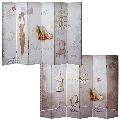 Mendler Foto-Paravent Vintage, Raumteiler Trennwand, Glitzer Retro Fashion ~ 180x240cm