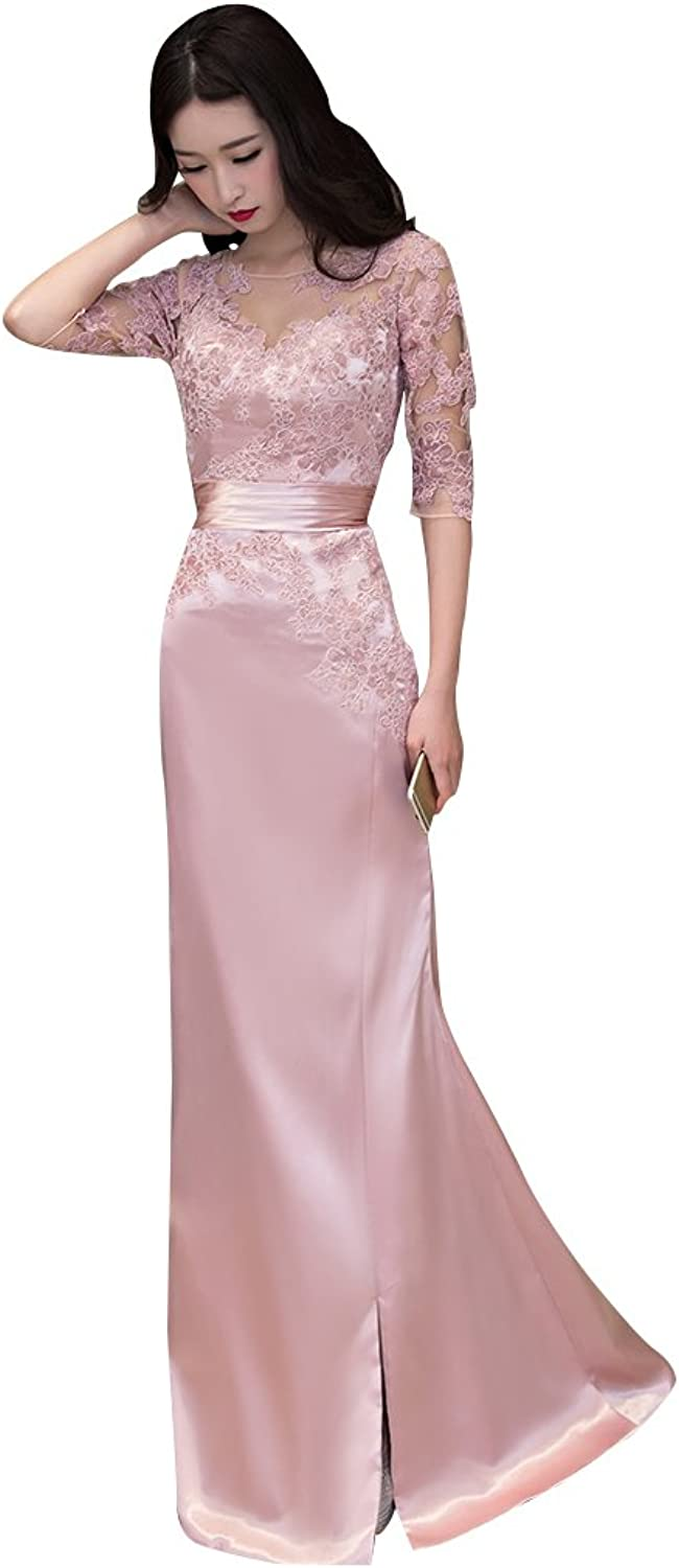 BeautyEmily See Through Satin Lace Half Sleeve Backless Evening Dress