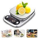 Báscula Digital Cocina, Ubegood Cocina de Acero Inoxidable Balanza electrónica Gran Pantalla LCD Balanza de Alimentos Multifuncional para cocinar y hornear etc