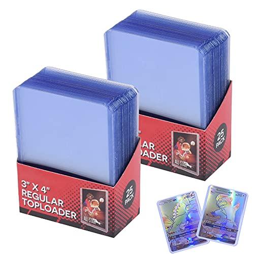 FGen 50 Stück Toploader - Clear Regular Toploader - Toploader Dicke Kartenhüllen Sleeves - Schutzhüllenhalter passend für Sammelkarten Hülle, Fußball, Basketball - 3