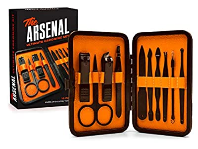 High End Grooming Manicure kit for Men and Women - The Arsenal 10pc Ultimate Manicure and Pedicure Set By Wild Willies