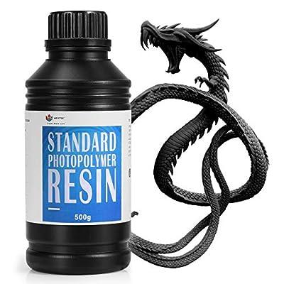 WEISTEK 3D Resin UV 405nm Resin High Precision Rapid Photopolymer Resin with Low Odor for LCD 3D Printer,500g(Black)