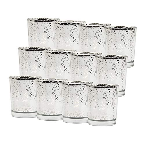 Bclaer72 Kerzenhalter, 12PCS Retro Glas Teelichthalter, gesprenkelte Gold Kerzenhalter für Hochzeiten, Party und Home Decoration