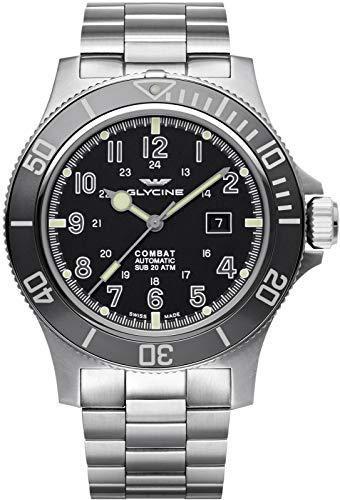Glycine Combat sub 48 Mens Analog Swiss Automatic Watch with Stainless Steel Bracelet GL0095
