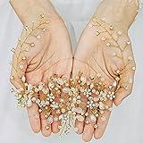 Handcess Diademas de boda de cristal con flores plateadas, accesorios para el pelo de novia y damas de honor (dorado)