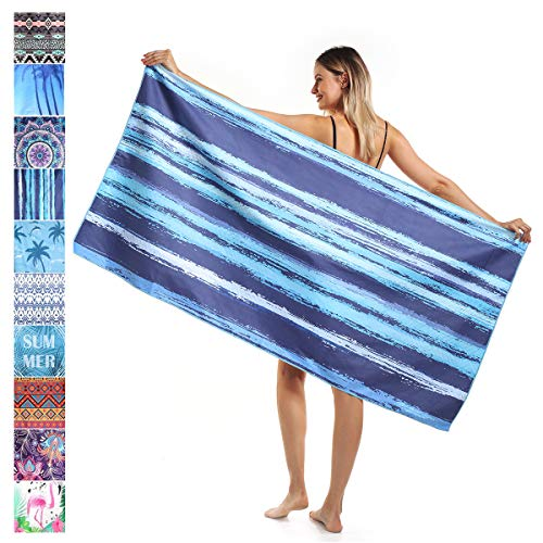 "SOJUNER Microfiber Beach Towel, Quick Dry Beach Towels, Super Soft, Absorbent, Compact, Sand Proof Towel. Best Lightweight Towel for The Swimming, Sports, Beach, Gym (23"" x 70"")"