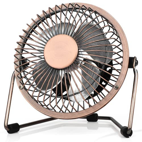 4'' USB Desk Personal Fan, Metal Design, Quiet Portable Mini Table Fan with One Setting, Small Portable and Lightweight Personal Fan Perfect for Use in Home, Office, Desktop, Camping or Travel, Bronze