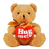 Hug me! 20 Inches Valentines Day Teddy Bear with Red Heart, Plush Bear Toy Stuffed Animal Gifts for Her/Him/Kids/Couple/Boys/Girls/Mom/Boyfriend/Girlfriend(Light Brown)