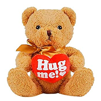 Hug me! 20 Inches Valentines Day Teddy Bear with Red Heart Plush Bear Toy Stuffed Animal Gifts for Her/Him/Kids/Couple/Boys/Girls/Mom/Boyfriend/Girlfriend Light Brown