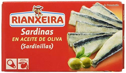 Rianxeira, Conserva de Sardina, Sardinilla en Aceite de Oliva - 12 latas de 81 gr. (Total:...