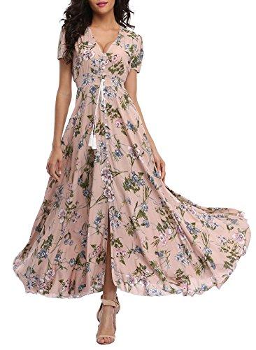 VintageClothing Women's Floral Print Maxi Dresses Boho Button Up Split Beach Party Dress,Pale Dogwood,Large