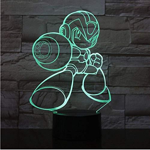 Rockman Figur USB 3D LED Nachtlicht Multicolor RGB Dekoratives Licht Jungen Kind Kinder Baby Geschenke Spiel Megaman Tischlampe Nachttischlampe